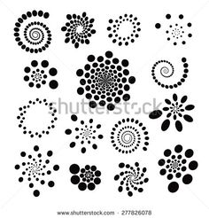 A set of abstract universal geometric elements. Stock vector (royalty free) 277826078 - Search Set Abstract Universal Geometric Elements Spirals Stock Images in HD and millions of royalty - Rock Painting Patterns, Painting Templates, Dot Art Painting, Rock Painting Designs, Mandala Painting, Pottery Painting, Stone Painting, Mandala Art Lesson, Mandala Stencils