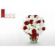 Magique Buchet cu trandafiri rosii si crini