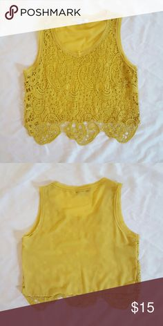 Doesn't fit See-through embroidered front crop top, with chiffon back Forever 21 Tops Crop Tops