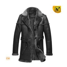 Shearling Coats Men CW878578     Handsome black shearling coats for men, best looking sheepskin shearling leather coat! Our hip length black genuine leather winter men's shearling coat, Australian ecological sheepskin fur lined material, not heavy but very warm.