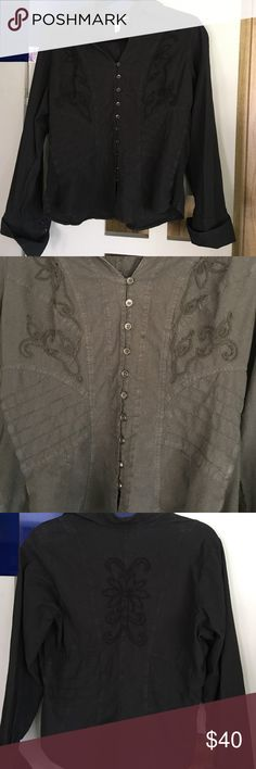 Gretty Zueger Black Shirt Gretty Zueger Black Shirt. Size large. 100% cotton. A very tailored shirt with lots of details and embroidery. A very soft and comfortable shirt. Great to rock with jeans and boots! Gretty Zueger Tops Button Down Shirts