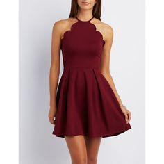 Charlotte Russe Scalloped Bib Neck Skater Dress ($35) ❤ liked on Polyvore featuring dresses, burgundy, flared skater dress, scalloped dress, charlotte russe, flare dress and red zipper dress