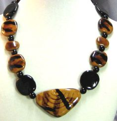 African Sunset Honey and Black Kazuri Triangle Necklace Great Earthy Necklace