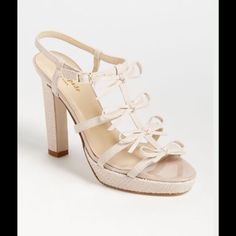 """Kate Spade 'Baylyn' Sandal 8.5 Received these as a Christmas gift in 2014, but just not my style.  I usually love Kate Spade, but not big on platforms.  These are 4 1/2"""" with bows on the leather straps. Brand New, Never Worn. kate spade Shoes Sandals"""