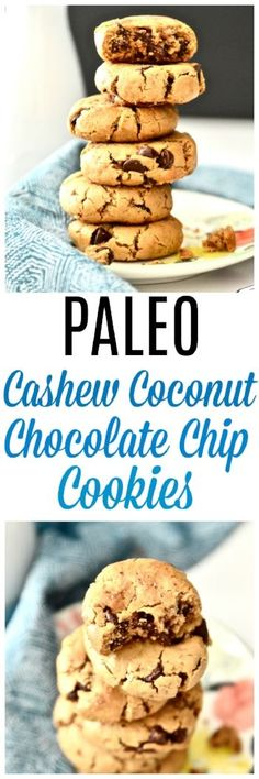 These Paleo Cashew Coconut Chocolate Chip Cookies are my new obsession. If you have been looking for a delicious grain and dairy free chocolate chip cookie look no further. These Paleo Cashew Coconut Chocolate Chip Dairy Free Cookies, Paleo Cookies, Coconut Cookies, Dairy Free Chocolate Chips, Gluten Free Chocolate Chip Cookies, Paleo Sweets, Paleo Dessert, Paleo Food, Paleo Diet