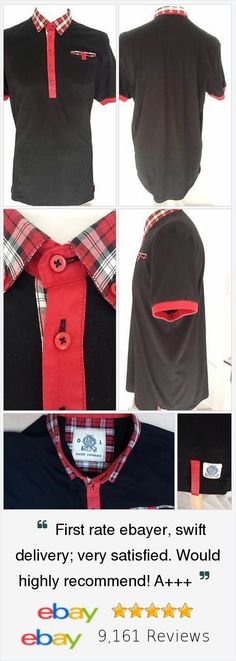 Guide London Polo Shirt Mens Size L Black Red Grey Trendy n Cool