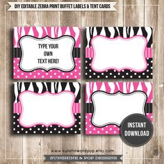 INSTANT DOWNLOAD - Editable FOLDING Pink and Black Zebra Print Buffet Labels & Tent Cards - for events, party, Minnie Mouse decorations. $6.50, via Etsy.