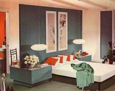 Mid-Century Modern bedroom.  Notice the floating wall that creates a headboard and privacy wall for the bed, with a vanity behind it.