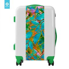 SOLD Luggage Suitcases Floral Abstract Stained Glass https://www.zazzle.com/luggage_suitcases_floral_abstract_stained_glass-256756566476201291 #Zazzle #Luggage #Suitcases #Floral #Abstract #Stained #Glass #turquoise #gold