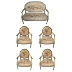 Beautiful 19th c. Louis XVI Five-Piece Salon Set   From a unique collection of antique and modern armchairs at https://www.1stdibs.com/furniture/seating/armchairs/