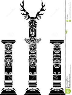 totem-pole-deer-skull-indian-masks-45913444.jpg (982×1300)