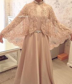 DressilyMe Bridal Dresses OnlineWedding Dresses Ball Gown attractive tulle illusion high neckline women s jacket with beaded lace appliques Tesettür Modelleri 2020 Abaya Fashion, Muslim Fashion, Modest Fashion, Fashion Dresses, Dress Outfits, Kebaya Muslim, Muslim Dress, Kebaya Modern Hijab, Dress Muslim Modern