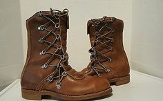Chippewa Men's,beige Leather Motorcycle riding boots size 8D made in USA vintage
