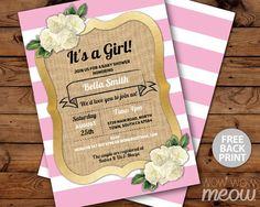 Baby Shower Invitation Pink Girl Twins Stripe by wowwowmeow