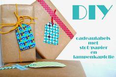 DIY - Cadeaulabeltjes met restjes stof/papier en lampenkapfolie...
