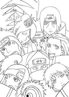 Akatsuki Team Coloring Pages For Kids Printable Naruto