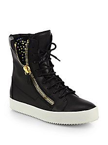 Giuseppe Zanotti - Studded Leather High-Top Sneakers