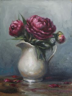 Dark Pink Peonies in White Pitcher, Still Life Oil Painting by Carolina Elizabeth