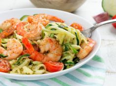 Spaghettis de courgettes et crevettes Weigth Watchers, 1200 Calories, Food Inspiration, Cabbage, Low Carb, Pasta, Healthy Recipes, Healthy Food, Vegetables