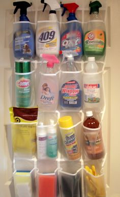 Cleaning Tip:  Use a hanging shoe rack to hold cleaning supplies on the back of a door.