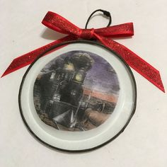 Vintage Style Train Holiday Ornament - Christmas ornament