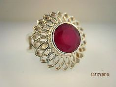 Sterling Silver Ruby Ring Size 8