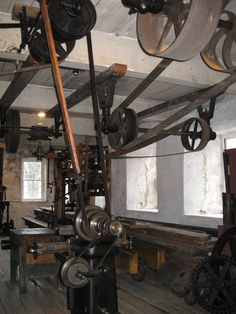 Water-powered pulley system originally used to run machines at Slater Mill in Pawtucket, RI