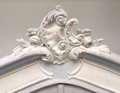 Swirling French Rococo crest / antique armoire / blue, lime white with lime wax finish / Frenchfinds.co.uk