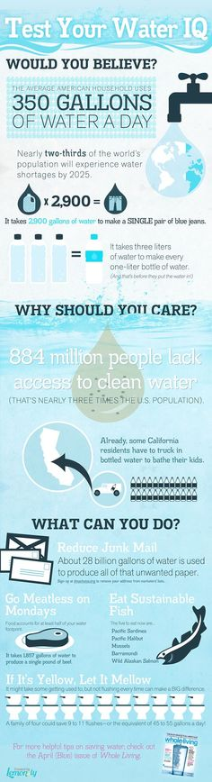Infographic courtesy, from Whole Living magazine, on US water conservation and awareness.