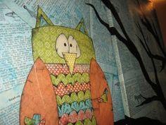 Owl+Mixed+Media+Canvas+Ideas | Mr. Owl mixed media on canvas.