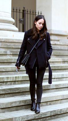 Nisi is wearing: Céline Trio Bag, Acne Jensen Boots, Biker Jacket, Mirrored Sunglasses