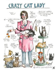 thesoundofonebrainthinking:  explore-blog:  Crazy Cat Lady illustrated by Wendy MacNaughton (♥), one of the entries in Anna Holmes's wonderf...