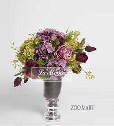 ZOO·MART 紫红色高花盆组合花艺A 法式 美式 新古典样板房/摆设