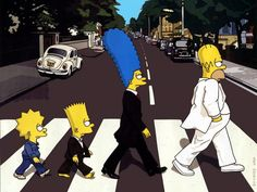 Familia Simpsons como los Beatles