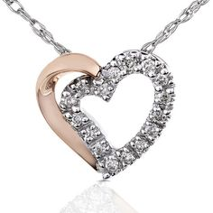 Round Diamond Two Toned Heart Necklace And Chain in 14K Gold