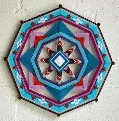 """Evening Star,"" a 12"", 8-sided Ojo de Dios mandala by Jay Mohler"