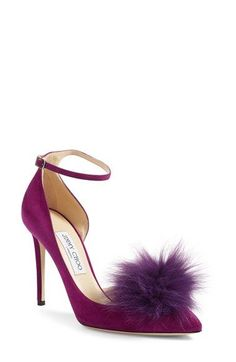 Free shipping and returns on Jimmy Choo Rosa Pump with Genuine Fox Fur Pom Charm (Women) at Nordstrom.com. Step into the glamour of a bygone era with a gorgeous d'Orsay pump styled with a wickedly pointy toe and slender stiletto heel—part of Jimmy Choo's Cruise '17 Capsule Collection. A fabulous fox-fur pom attaches at the upper or slips off for a timeless and more understated look.Two charms are included with this style, but change up the look to suit the occasion and your mood with a…