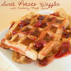 Sweet Potato Waffles with Cranberry Maple Syrup- the perfect way to use up Thanksgiving leftovers or a festive addition to your Christmas breakfast! #holiday #brunch @Allrecipes