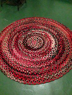 Vintage 1970 S Hand Braided Wool Rug Ebay