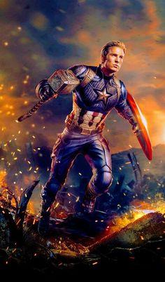 Captain America, Avengers: End Game - Marvel Universe Iron Man Avengers, Marvel Avengers, Marvel Comics, Marvel Memes, Logo Super Heros, Captain America Wallpaper, Die Rächer, Avengers Wallpaper, Comic Kunst