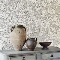 Pure Bachelors Button Wallpaper Taking inspiration from medieval wall murals, this beautiful wide width wallpaper features extravagant leaves and flowers shown in taupe, grey and off-white. This wallpaper is supplied random cut by the metre. William Morris Tapet, William Morris Wallpaper, Morris Wallpapers, Linen Wallpaper, Print Wallpaper, Room Wallpaper, Wallpaper Designs, Wallpaper Ideas, Bachelor Buttons