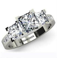 Platinum Square Princess Cut Diamond Ring
