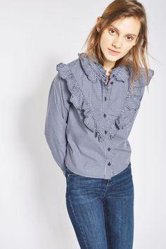 MOTO Gingham Frill Shirt