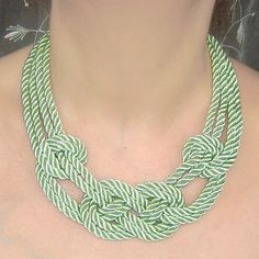 SALE. Tea Green sailor knot necklace. Silk rope. by agatsknitting, $17.00
