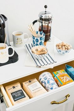 Coffee bar essentials: http://www.stylemepretty.com/living/2016/07/13/take-your-mornings-from-exhausted-to-energized-with-a-dream-coffee-bar/ | Photography: Rustic White Photography