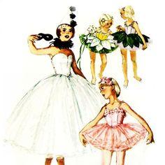 Girls Flower Fairy Ballet Tutu 1960s Pattern.