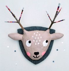 """Papier mâché animal head """"deer"""", nursery decoration - Stylist and Craft ideas - Pin this boardm - Help the street animals. Deer Nursery, Nursery Decor, Diy For Kids, Crafts For Kids, Paper Mache Animals, Paper Mache Animal Heads, Diy And Crafts, Arts And Crafts, Newspaper Crafts"""