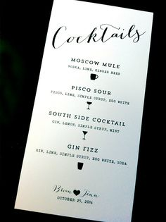 Printed / Cocktail Menu / Custom Color Wording & by CityBeeDesign, $45.00