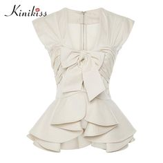 Cheap shirt women, Buy Quality shirts women tops directly from China summer shirt Suppliers: Summer Blouse 2017 Light Apricot Sleeveless V-Neck Women Slim Falbala Patchwork Bowknot Plain Summer Shirt Women Top Summer Office Wear, White Peplum Tops, White Tops, Summer Blouses, Blouse Styles, Blouses For Women, Fashion Outfits, Women's Fashion, Shirts