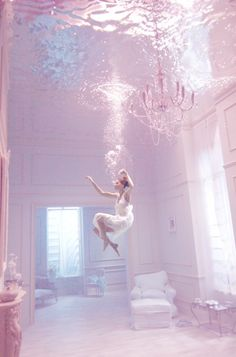 pastel grand home swimming figure underwater chandelier @laleliworld